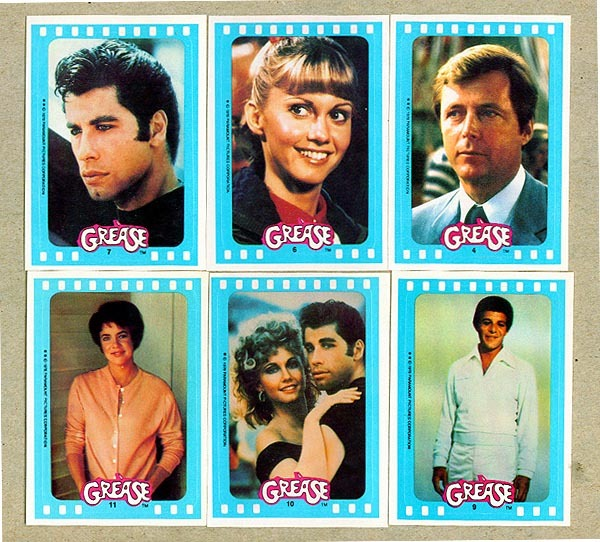 1978 Topps GREASE - COMPLETE STICKERS Blue-Border Insert SET (11 cards) Non-Sport cards value