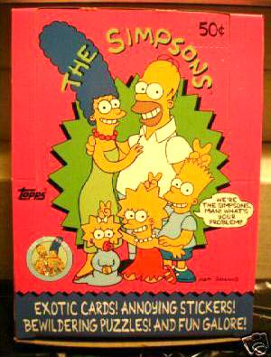 1990 The SIMPSONS - Wax Box (36 packs, 8 cards+1 sticker/pack) Non-Sports cards value