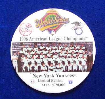 NY YANKEES - 1996 American League Champions 6-INCH PIN / BUTTON Baseball cards value