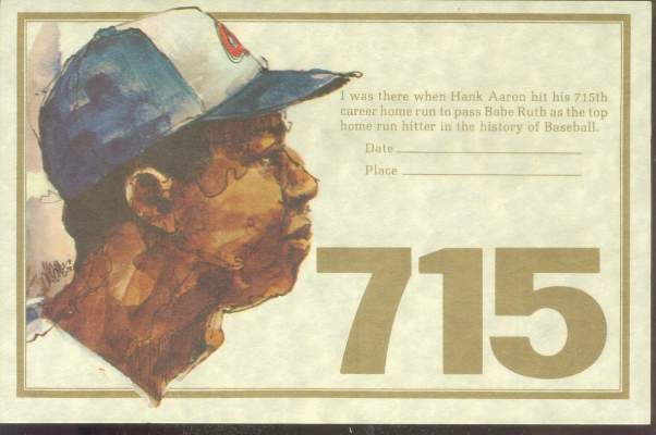 Hank Aaron - 1974 '715 Club' 'I Was There' certificate Baseball cards value