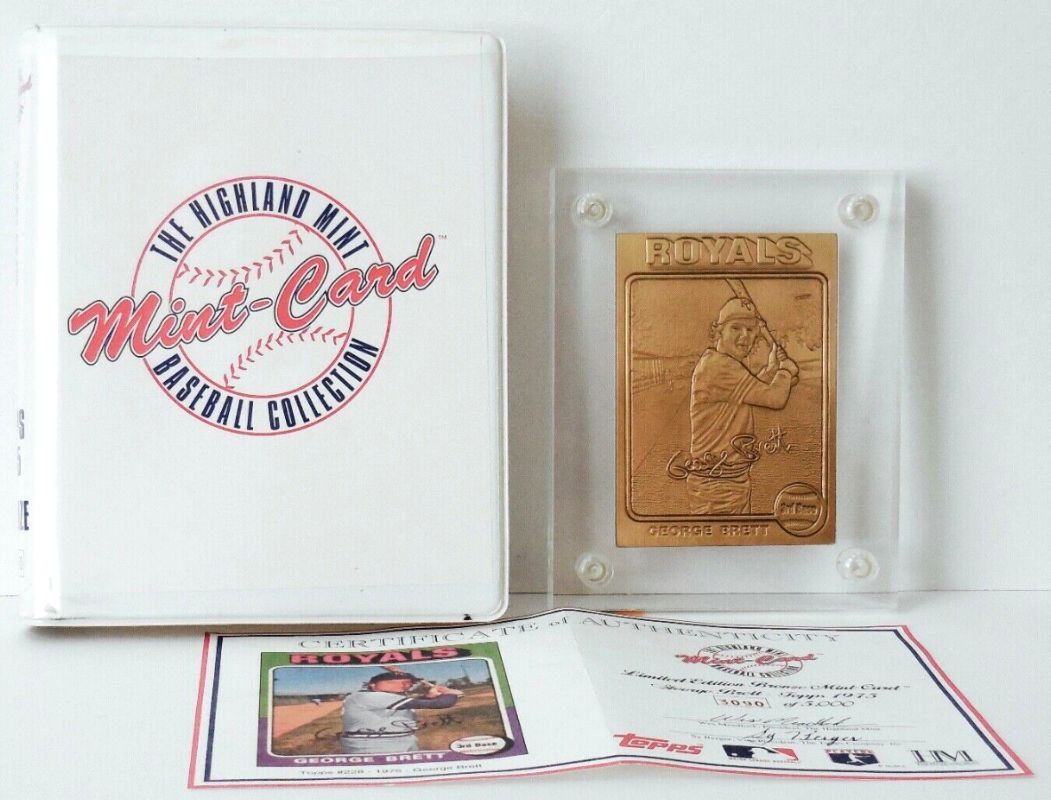 George Brett - HIGHLAND MINT SOLID BRONZE 1975 Topps Card in thick acrylic Baseball cards value