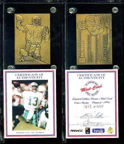 Dan Marino - HIGHLAND MINT SOLID BRONZE Card (1994) in thick acrylic Baseball cards value