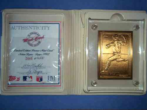 Nolan Ryan - HIGHLAND MINT SOLID BRONZE 1992 Topps Card in thick acrylic Baseball cards value
