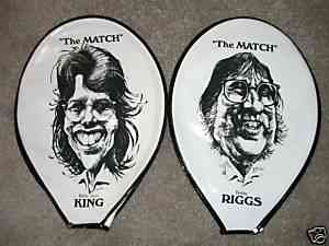 Billy Jean King/Bobby Riggs - 'The MATCH' Tennis Racquet Cover !!! Baseball cards value