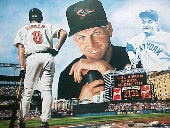 Cal Ripken - Full Color LITHOGRAPH (1995) (18x24) Baseball cards value