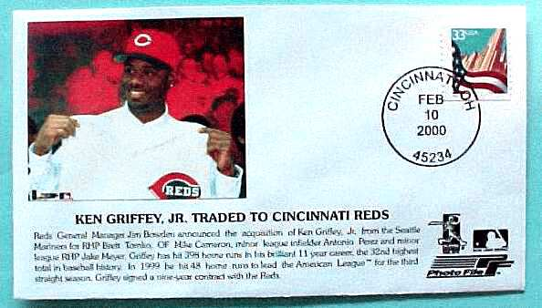 KEN GRIFFEY Jr -  'Ken Griffey, Jr. Traded to Cincinnati Reds' Cachet Baseball cards value