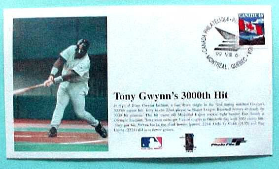 TONY GWYNN - 'Tony Gwynn's 3000th Hit' 1999 Photo File Cachet (Padres) Baseball cards value