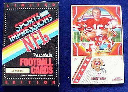 Joe Montana - 1990 Ceramic card by Sports Impressions Baseball cards value