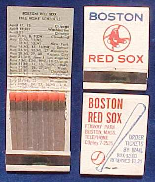 1965 Boston Red Sox MATCH BOOK Schedule Baseball cards value