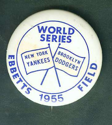 1955 WORLD SERIES PIN - NEW YORK YANKEES vs BROOKLYN DODGERS [#a] Baseball cards value