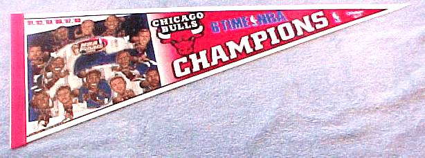 PENNANT - Chicago Bulls 6 Time NBA Champions Baseball cards value