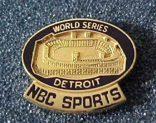1984 Detroit TIGERS 'NBC SPORTS' WORLD SERIES Press Pin Baseball cards value