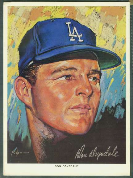 1969 Union Oil L.A. Dodgers - DON DRYSDALE (8-1/2x11) Baseball cards value