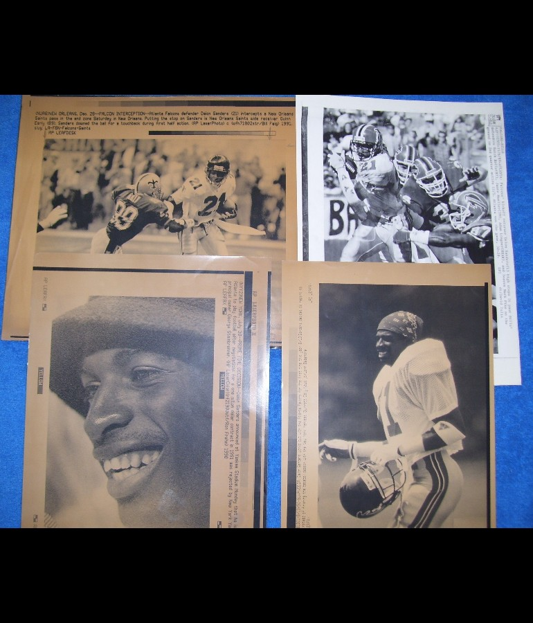 WIREPHOTO: Deion Sanders - LOT of (4) - 1989 thru 1991 (Falcons/Yankees) Football cards value