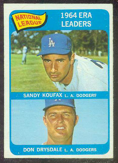 1965 O-Pee-Chee/OPC #..8 N.L. ERA Leaders (Sandy Koufax/Don Drysdale) Baseball cards value