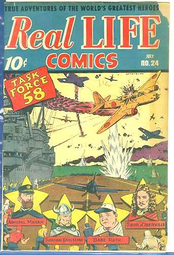 1945 REAL LIFE COMICS #24 - w/'History of Baseball' & classic WW II cover Baseball cards value