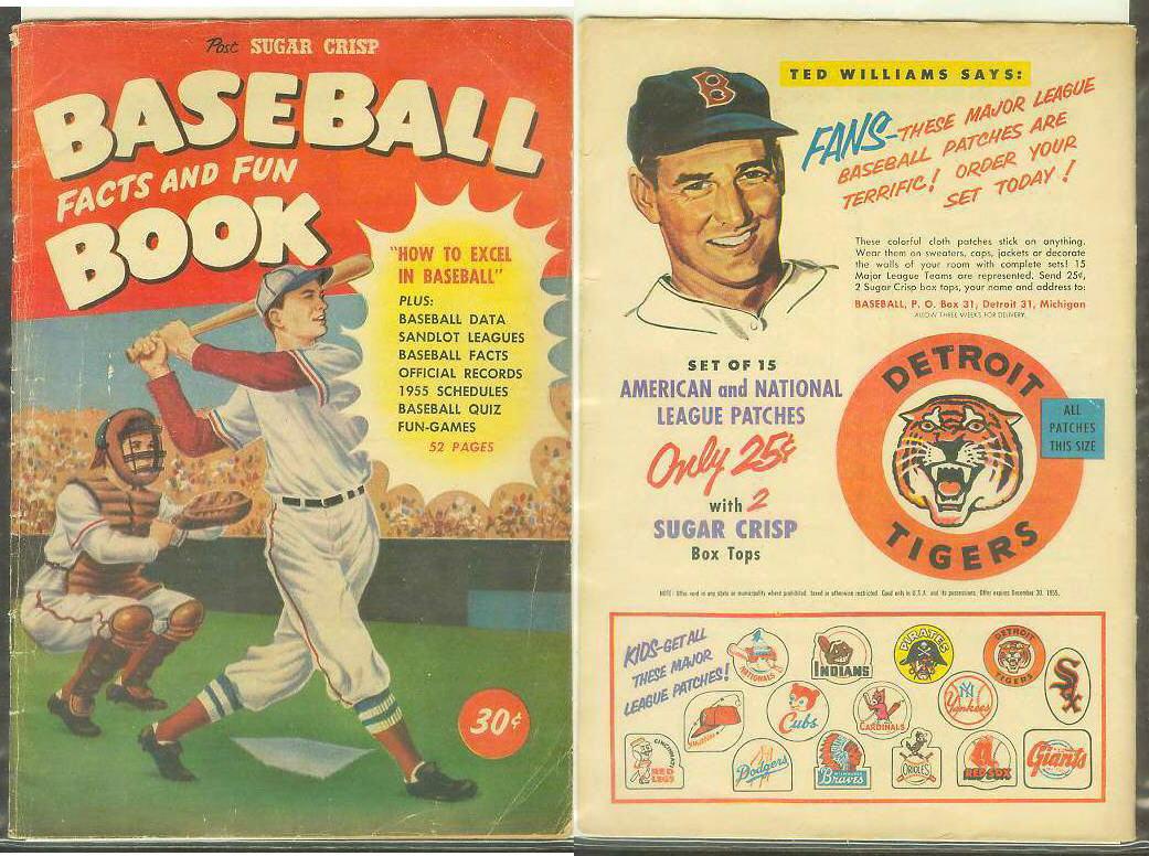 1955 Sugar Crisp Baseball Factsfun Comic Book Ted Williams Ad On Back