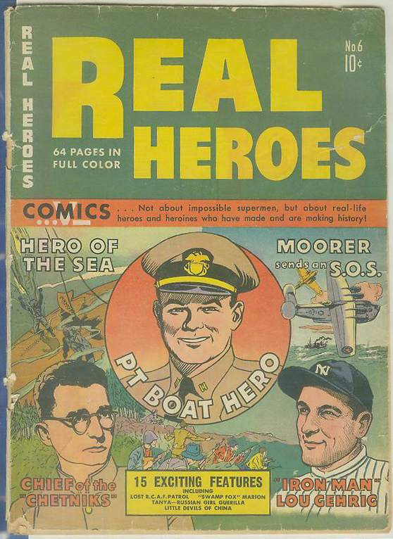 1942? Real Heroes #6 Comic Book - Lou Gehrig on Cover (64 pages) Baseball cards value
