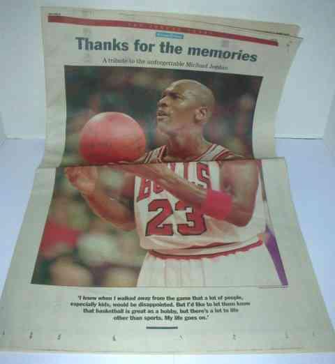 Newspaper: MICHAEL JORDAN -1993 Chicago Tribune- LOT (25) Retirement Trib. Basketball cards value