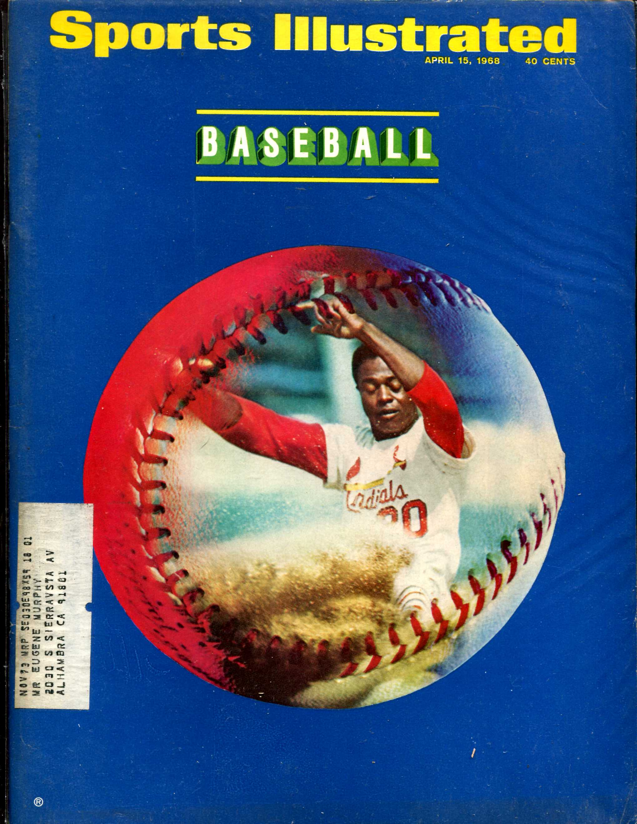 Sports Illustrated (1968/04/15) - Lou Brock 'BASEBALL' issue Baseball cards value
