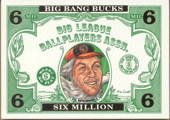 #BB.3 'Cal Ripkenwinkle'/Cal Ripken - 1993 Cardtoons 'BIG BANG BUCKS' Baseball cards value