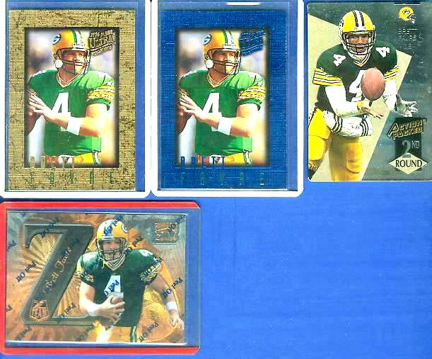 Brett Favre - 1996 Fleer Ultra Sensations BLUE PROMO #S1 Football cards value