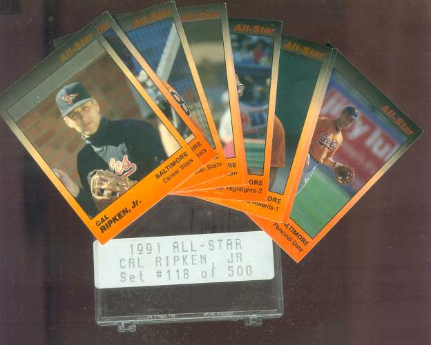 Cal Ripken - 1991 Star Company ALL-STAR GLOSSY Complete 9-card Set Baseball cards value