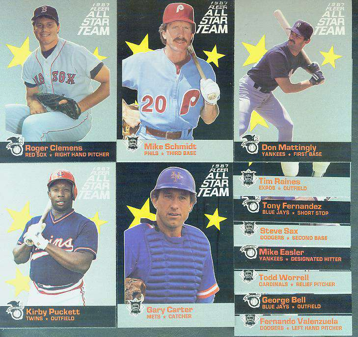 1987 Fleer 'ALL-STARS' - Complete 12-card Insert Set Baseball cards value