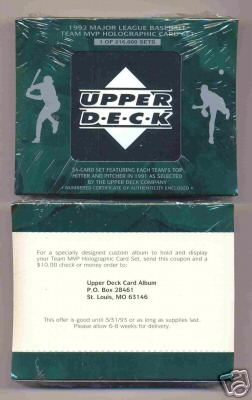1992 Upper Deck TEAM MVP HOLOGRAMS - Complete Factory Set (54 cards) Baseball cards value