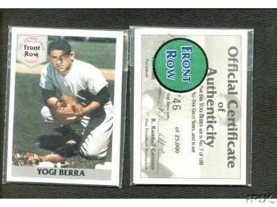 1992 Front Row - YOGI BERRA - Lot of (10) Complete 5-card Sets (Yankees) Baseball cards value