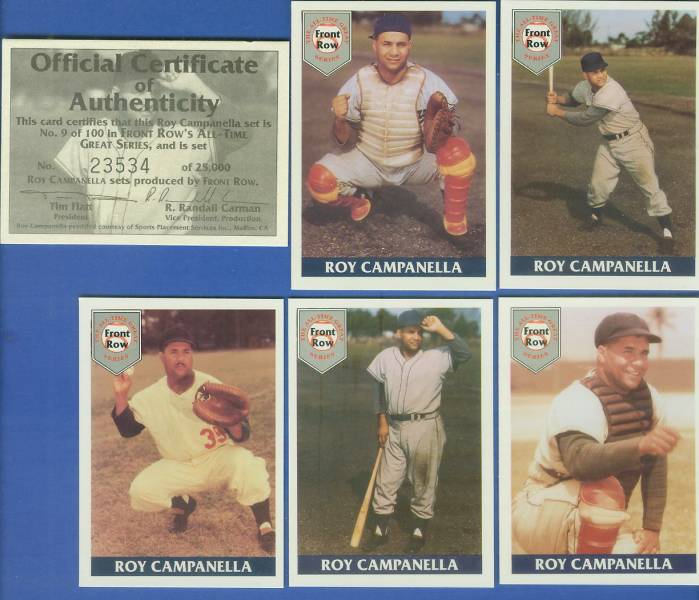 1993 Front Row - ROY CAMPANELLA - Lot of (10) Complete 5-card Sets (Dodger Baseball cards value