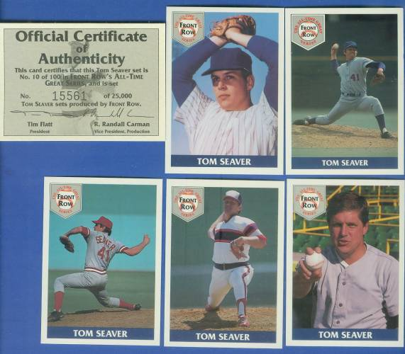 1992 Front Row - TOM SEAVER - Lot of (10) Complete 5-card Sets Baseball cards value
