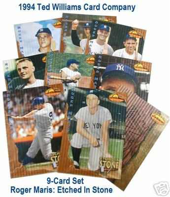 1994 Ted Williams Co. - 'ROGER MARIS Etched in Stone' -Complete Insert Set Baseball cards value