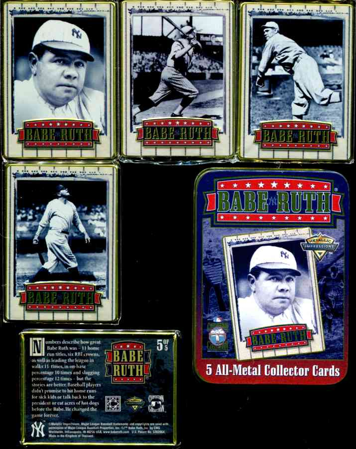 Metallic Impressions - BABE RUTH 1996 Complete Set of (5) Metal cards Baseball cards value