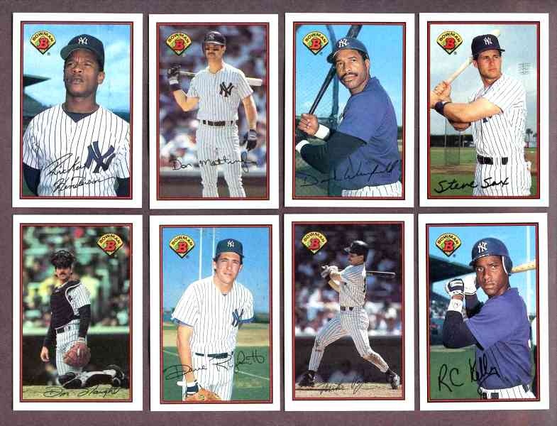 Yankees 19 1989 Bowman Tiffany Complete Team Set