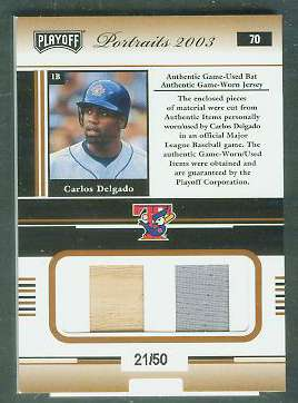 Carlos Delgado - 2003 Playoff Portraits COMBO GAME-USED BAT/JERSEY card Baseball cards value