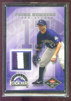 Todd Helton - 2001 Fleer Platinum RC 'Prime Numbers' GAME-USED JERSEY PATCH Baseball cards value