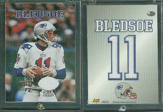 Drew Bledsoe - 1998 Playoff Momentum WHITE 'Team Threads' GAME-USED JERSEY Baseball cards value