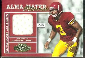 Keyshawn Johnson - 2001 Playoff Honors Alma Mater GAME-USED MESH JERSEY Baseball cards value