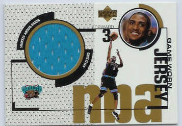 Shareef Abdur-Rahim - 1998-99 Upper Deck GOLD GAME-USED JERSEY #GJ39 Baseball cards value