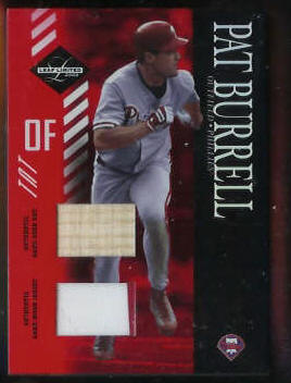 Pat Burrell - 2003 Leaf Limited DUAL GAME-USED BAT & 2-Color JERSEY COMBO ! Baseball cards value