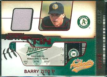 Barry Zito - 2002 Fleer Authentix GAME-USED JERSEY AuthenTix UN-RIPPED !!! Baseball cards value