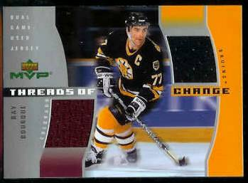 Ray Bourque - 2003-04 UD MVP 'Threads' #TC10 DOUBLE GAME-USED JERSEY ERROR Baseball cards value
