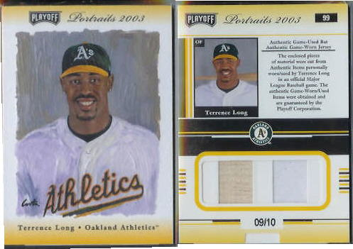 Terrence Long - 2003 Playoff Portraits Materials DUAL GAME-USED JERSEY/BAT Baseball cards value