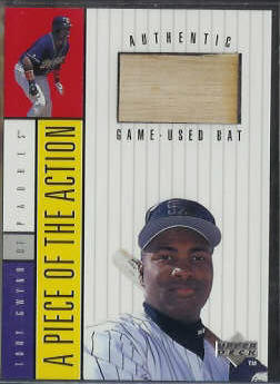 Tony Gwynn - 1997 Upper Deck 'Piece...Action' GAME-USED BAT (Padres) Baseball cards value