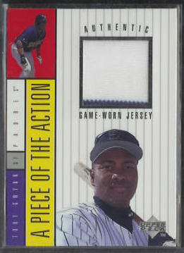 Tony Gwynn - 1997 Upper Deck 'Piece...Action' GAME-USED JERSEY [#b] Baseball cards value
