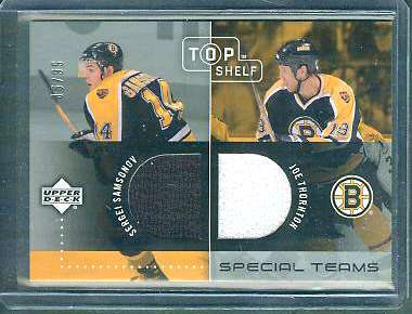 Joe Thornton/Sergei Samsonov - 2002-03 UD Top Shelf DUAL GAME-USED JERSEY Baseball cards value