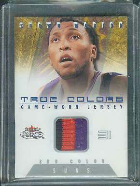 Shawn Marion - 2001-02 Fleer Force 'TRUE COLORS' 3rd COLOR GAME-USED JERSEY Baseball cards value