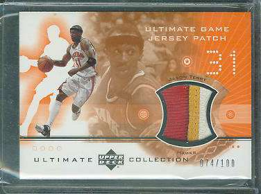 Jason Terry - 2001-02 Ultimate Collection #JTP GAME-USED JERSEY PATCH Baseball cards value