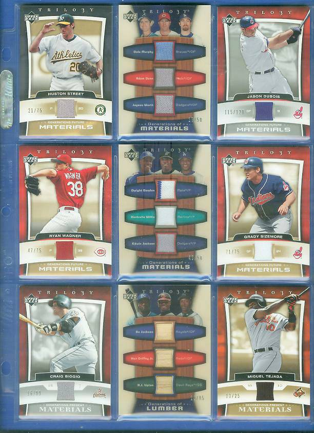 TRIPLE - 2005 UD Trilogy 'Generations' GAME-USED JERSEYS/PANTS w/Adam Dunn Baseball cards value